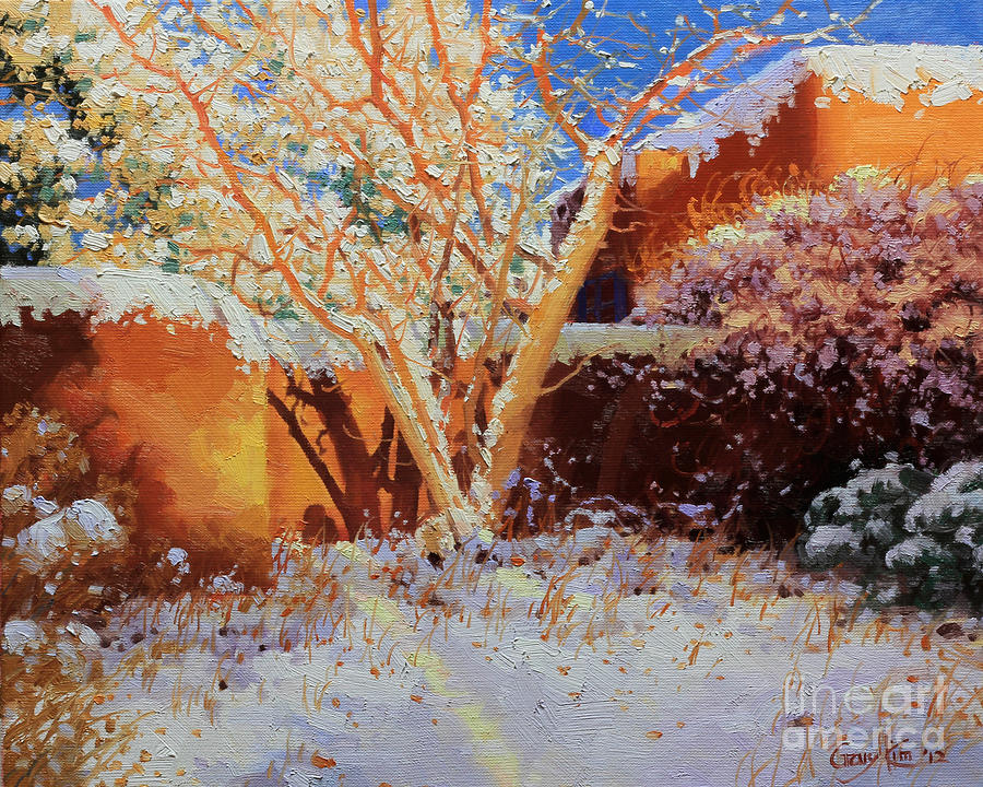 Winter Painting - Adobe Wall With Tree In Snow by Gary Kim