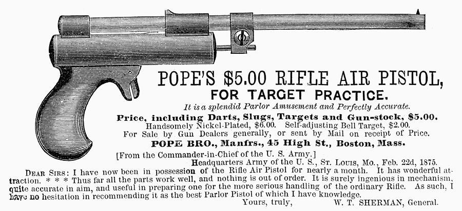 1875 Photograph - Advertisement: Air Pistol by Granger