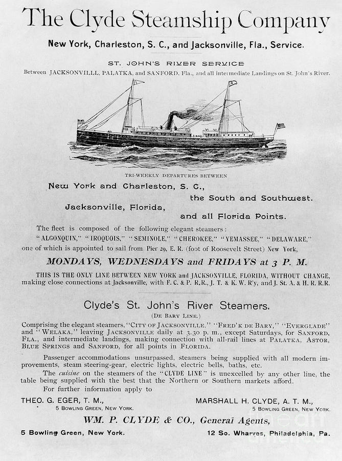 1851 Photograph - Advertisement: Steamship by Granger