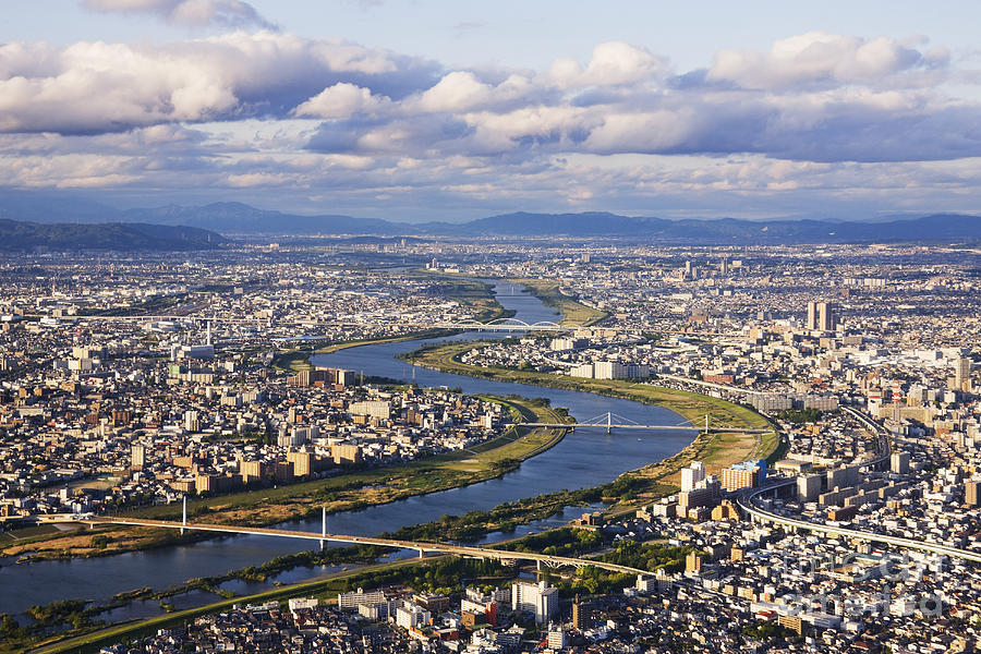 Aerial Photograph - Aerial Japanese Cityscape And River by Jeremy Woodhouse