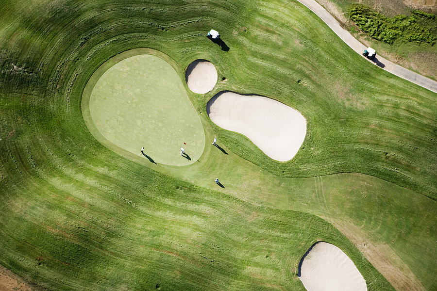 Horizontal Photograph - Aerial Of Golfers On Green Of Tierra Del Sol Golf Course by Holger Leue
