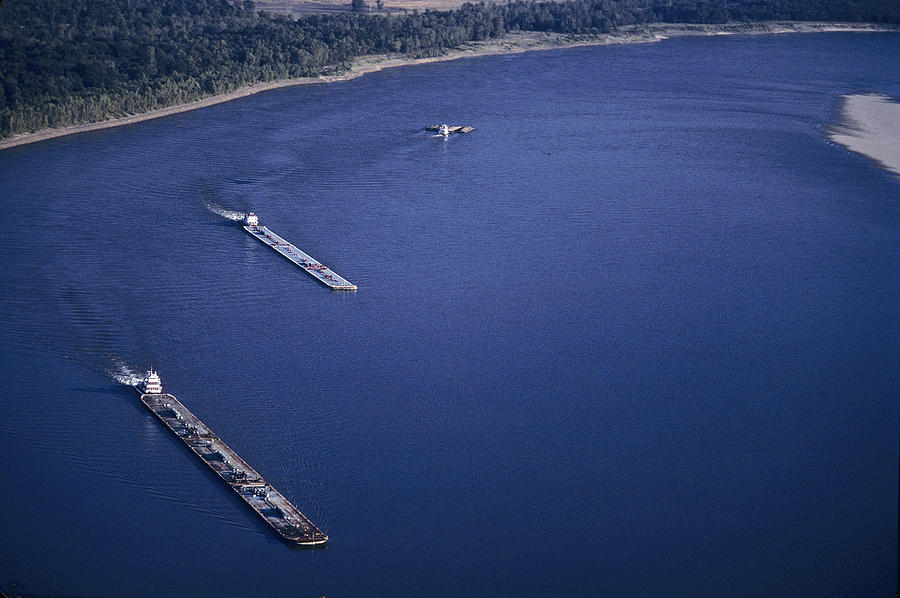 Barges Photograph - Aerial Of Mississippi River by Kenneth Garrett