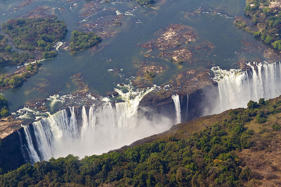 Horizontal Photograph - Aerial Of Victoria Falls, Zambia, Africa by Yvette Cardozo