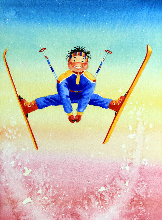 Canadian Kids Book Illustrator Painting - Aerial Skier 17 by Hanne Lore Koehler