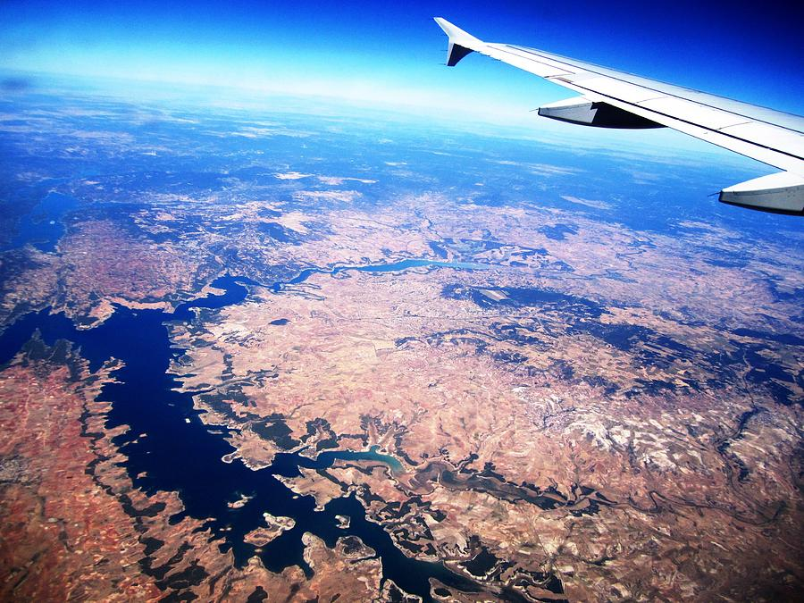 Aerial View II With Airplane Wing On Take Off From Madrid