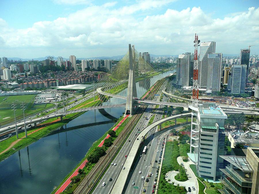 Horizontal Photograph - Aerial View Of Bridge Estaiada by Felipe Borges