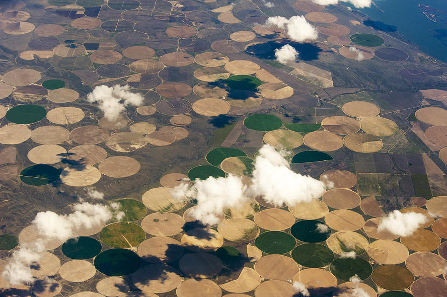 Horizontal Photograph - Aerial View Of Crop Irrigation Circles by Brian Stablyk