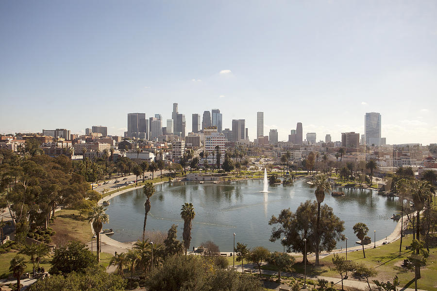 Horizontal Photograph - Aerial View Of Lake In Urban Park by Cultura Travel/Zak Kendal