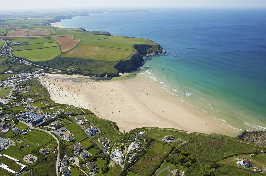 Horizontal Photograph - Aerial View Of Mawgan Porth And Coastline by Allan Baxter