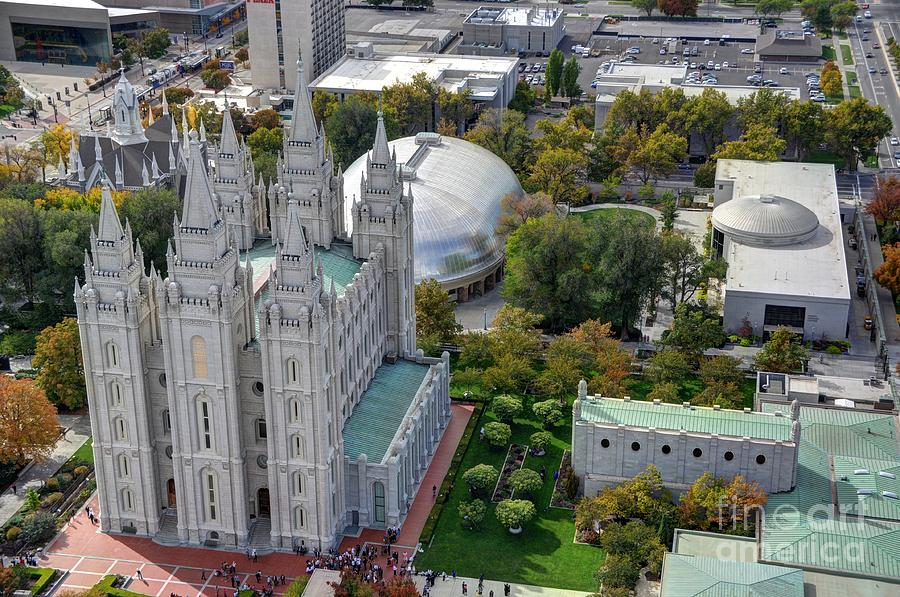 Aerial View Of Mormon Lds Temple Square In Salt Lake