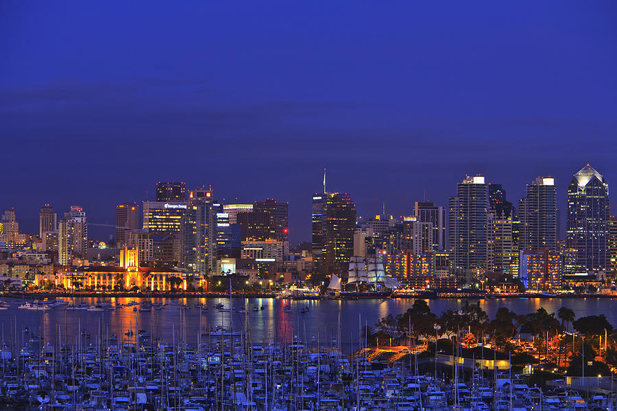 Aerial View Of San Diego Skyline With Photograph By Stuart
