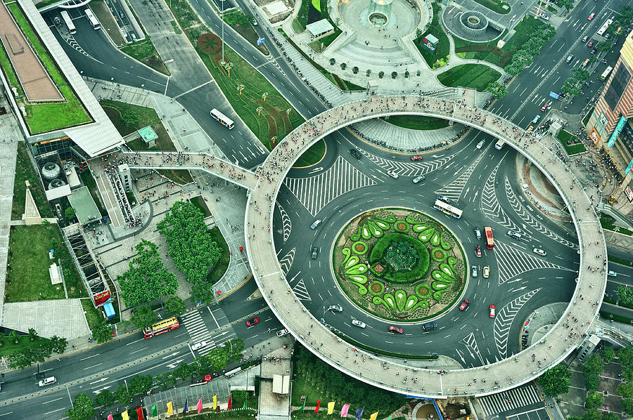 Horizontal Photograph - Aerial View Of Shaghai Traffic by Ixefra