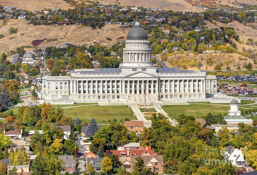 Salt Photograph - Aerial View Of Utah State Capitol Building by Gary Whitton