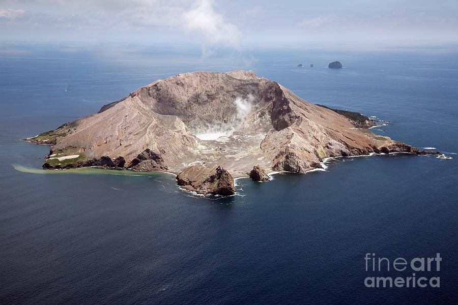 Aerial View Of White Island Volcano Photograph
