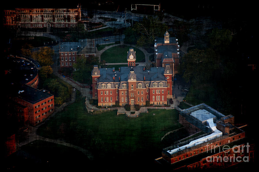 Aerial Photograph - Aerial Woodburn Hall In Evening by Dan Friend