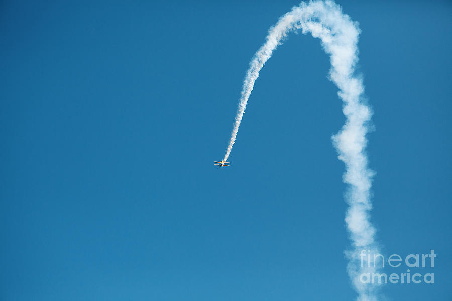 Airplane Photograph - Aerobatic Biplane Downline by Kim Fearheiley
