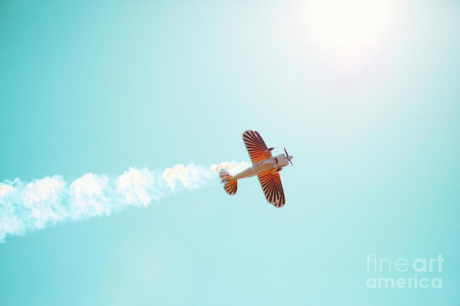 Airplane Photograph - Aerobatic Biplane Inverted by Kim Fearheiley