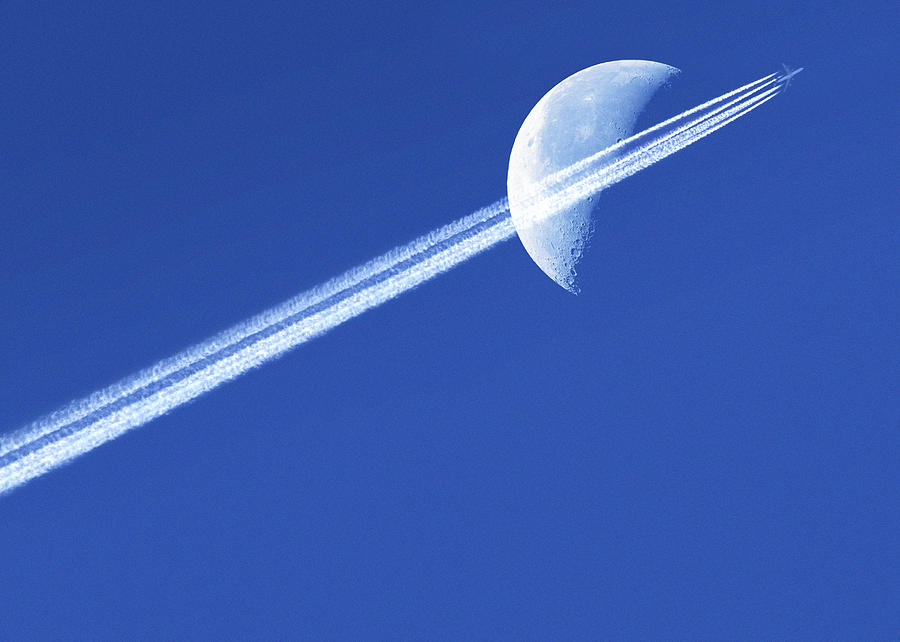 Moon Photograph - Aeroplane Contrail Against The Moon by Detlev Van Ravenswaay