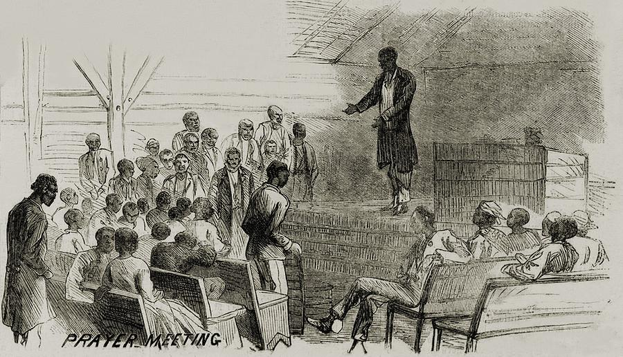 History Photograph - African American Freedmen In A Prayer by Everett