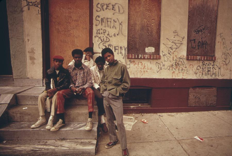 History Photograph - African American Teenage Street Gang by Everett