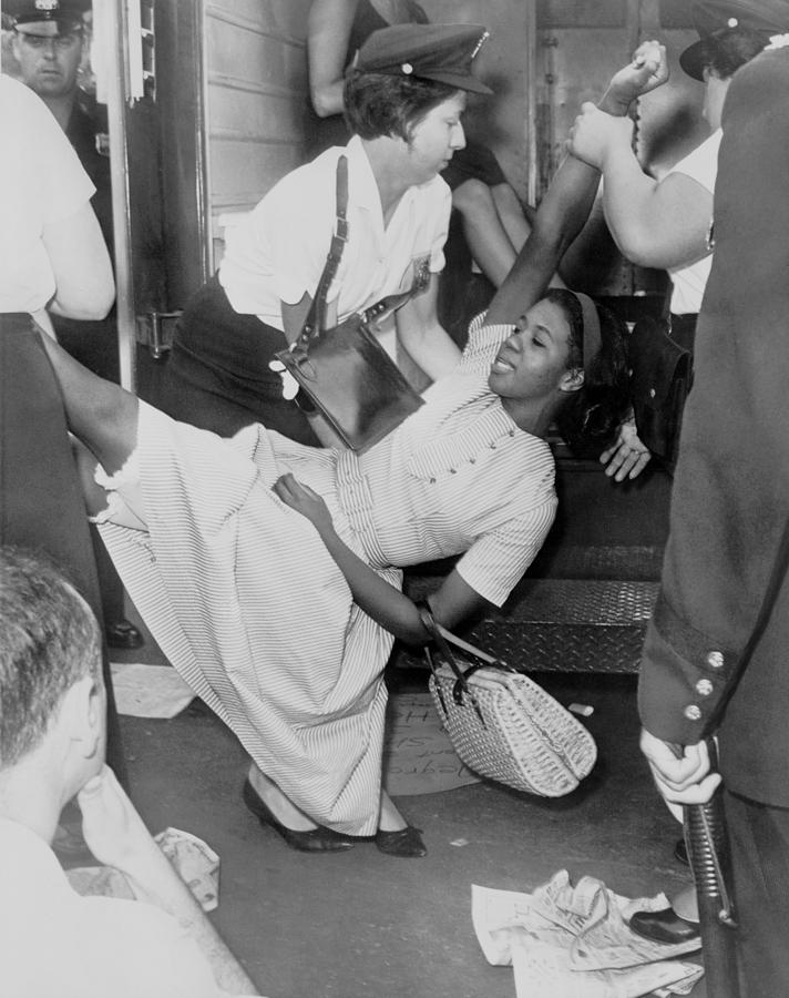 History Photograph - African American Woman Resisting by Everett