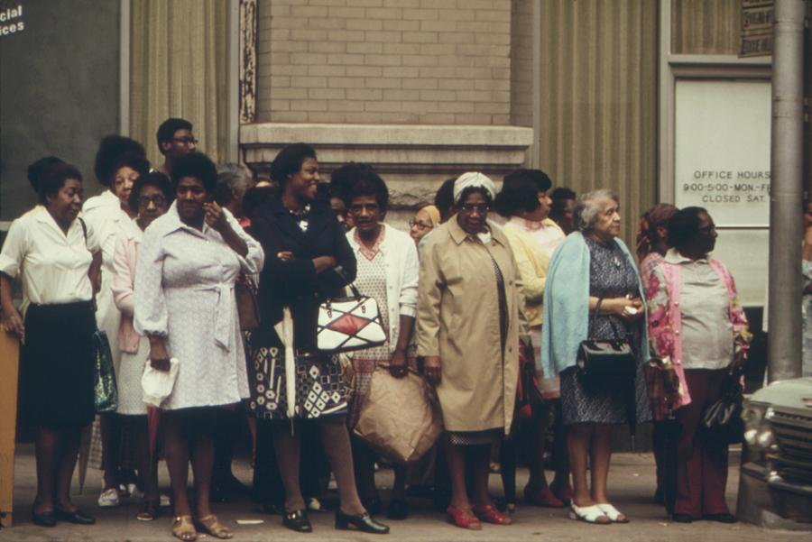 History Photograph - African Americans Mostly Women Waiting by Everett
