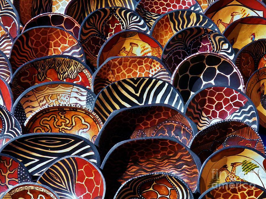 Bowls Photograph - African Art  Wooden Bowls by Werner Lehmann