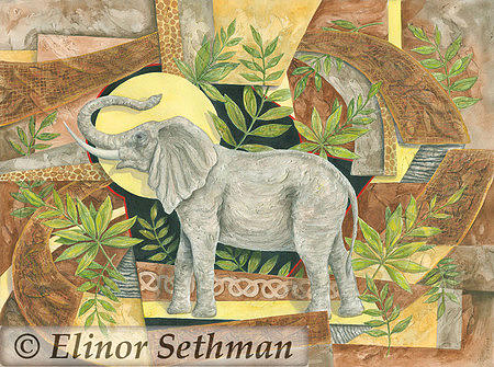 African Elephant Painting - African Fantasy by Elinor Sethman