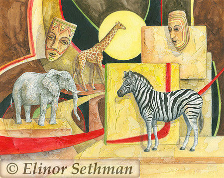African Animals Painting - African Fantasy Two by Elinor Sethman