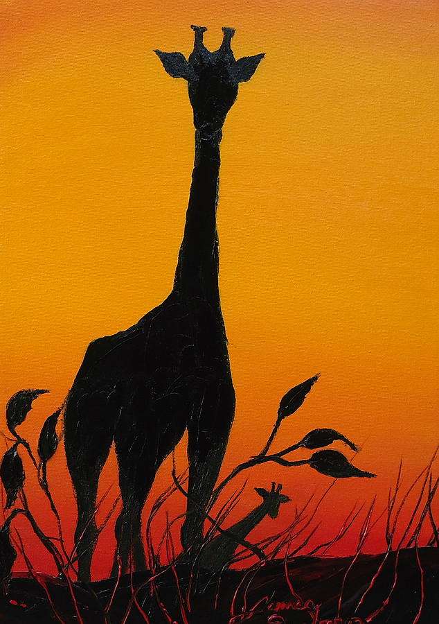 African Giraffe At Sunset 10 Painting by Dunbar's Local ...