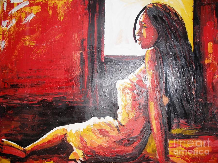 African Gril Painting by Dennis Spaine