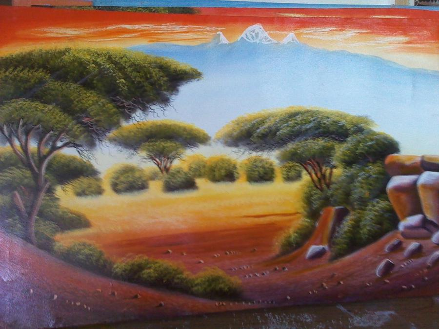 African Landscape Painting By John