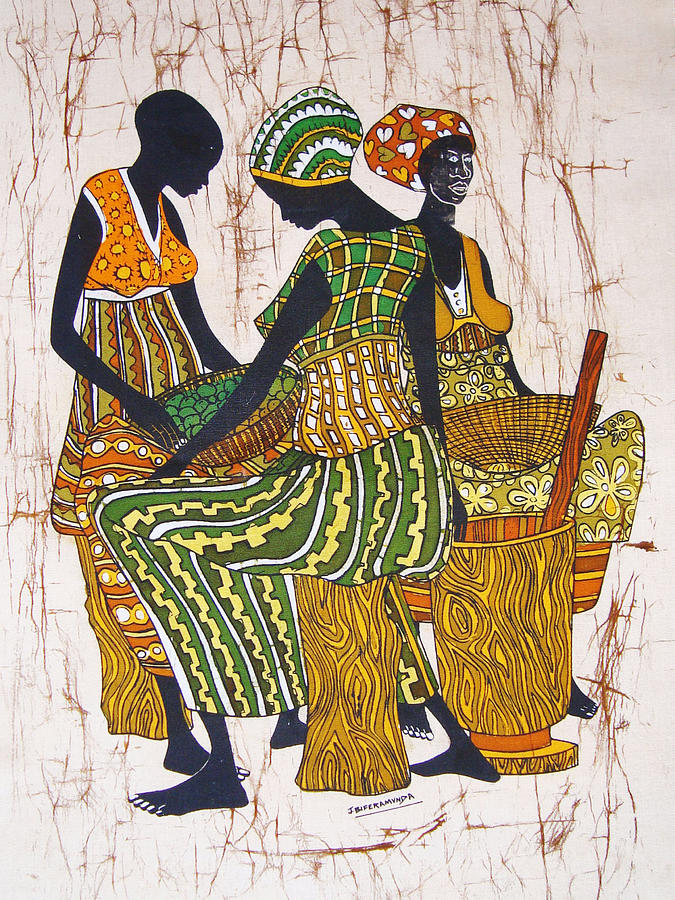 Pounders Tapestry - Textile - African Pounders by Joseph Kalinda