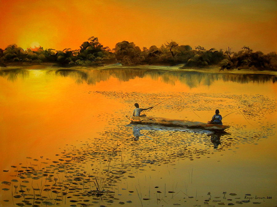 African River Sunset Painting By Roger Brown