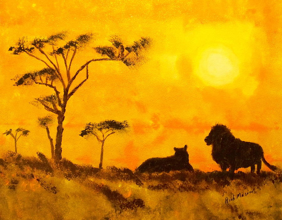 African Sunset Painting by Rich Mason