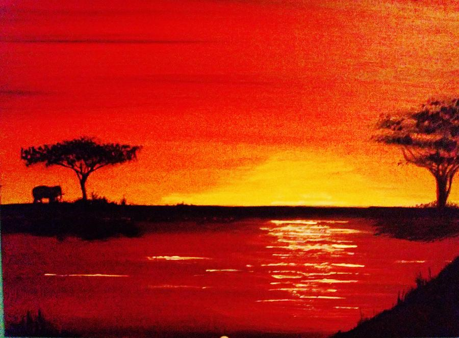 African Sunset Painting by Stanley Whitehouse