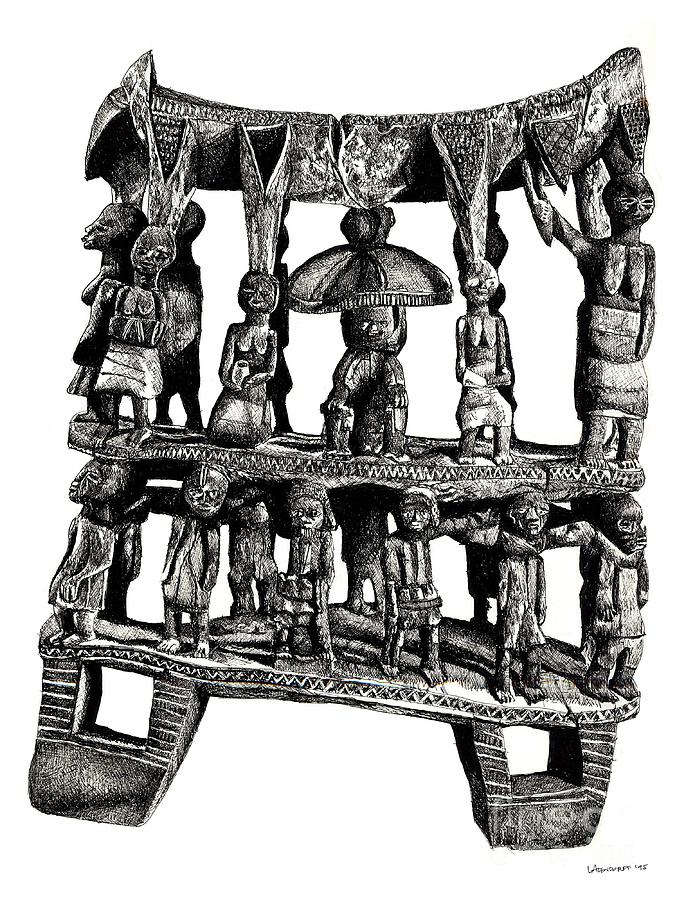 African Drawings Drawing - African Tribal Seat  by Adendorff Design