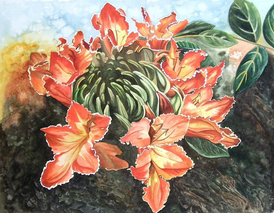 Floral Painting - African Tulip by Karen Casciani