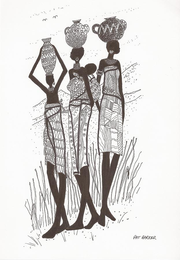 African Women Collecting Water Drawing By Pat Barker
