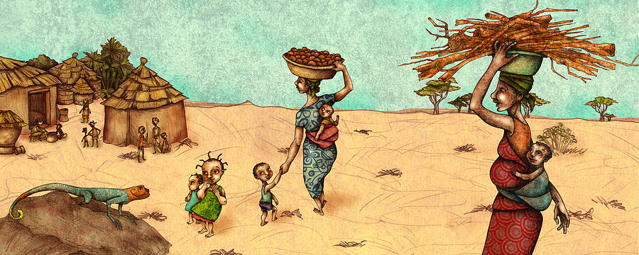 Poor People Painting - Africans by Autogiro Illustration