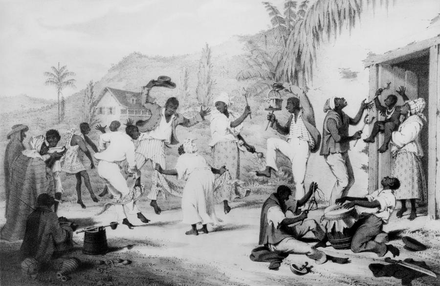 History Photograph - Afro-caribbean Slaves Dancing by Everett