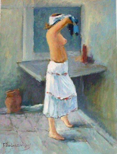 Nude.nude Woman.bath.after The Bath Painting - After A Bath by George Siaba