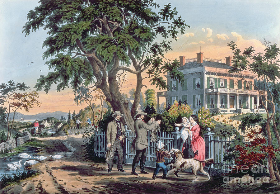 Currier Painting - After The Hunt by Currier and Ives