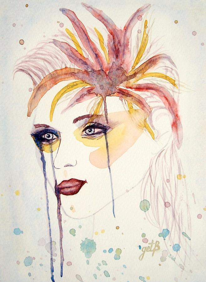 Woman Portrait Painting - After The Show Watercolor On Paper by Georgeta  Blanaru