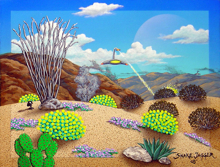 Desert Painting - Afternoon Attack by Snake Jagger