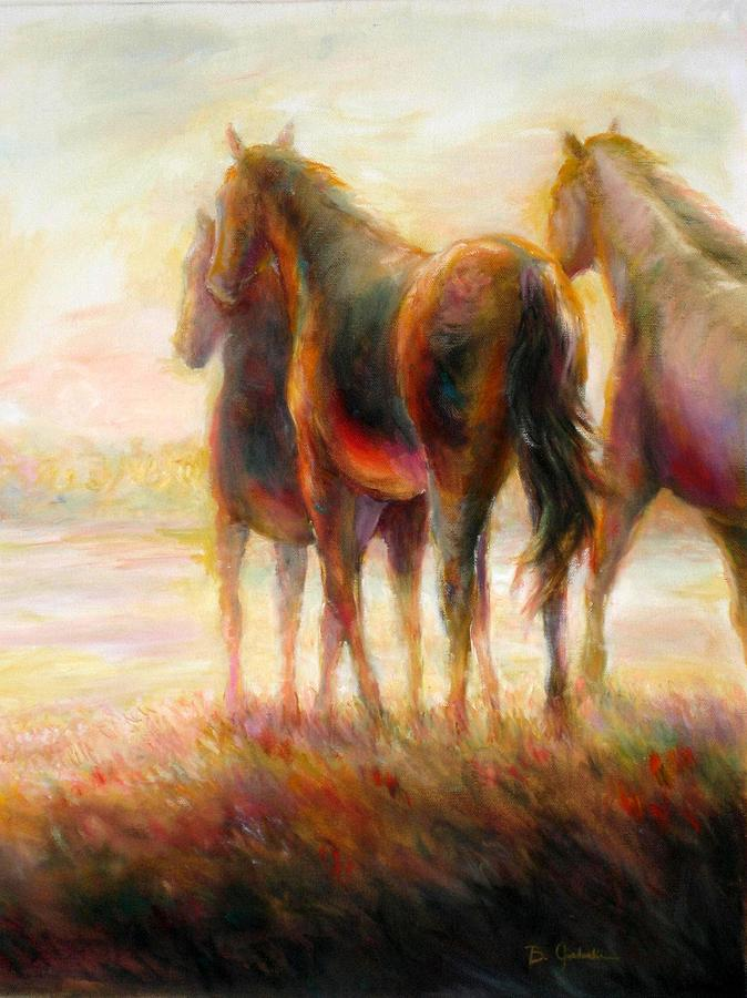 Horses Painting - Afternoon Glow by Bonnie Goedecke