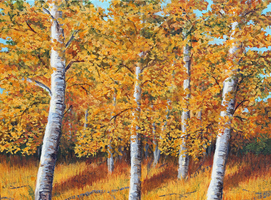 Paintings Painting - Afternoon In The Aspens by Lorraine Foster