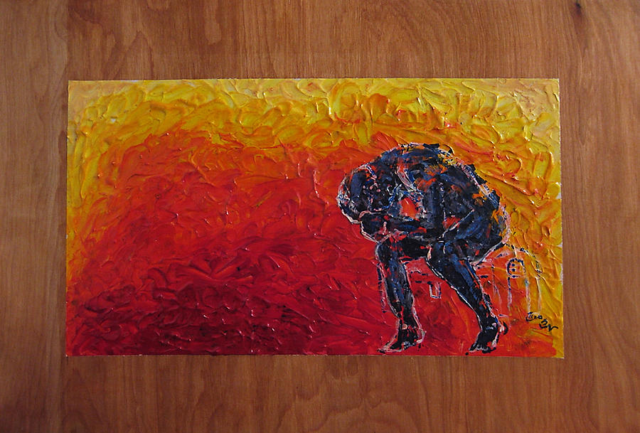 Figure Painting - Agony Doubled Over In Flames On Wood Panel by M Zimmerman