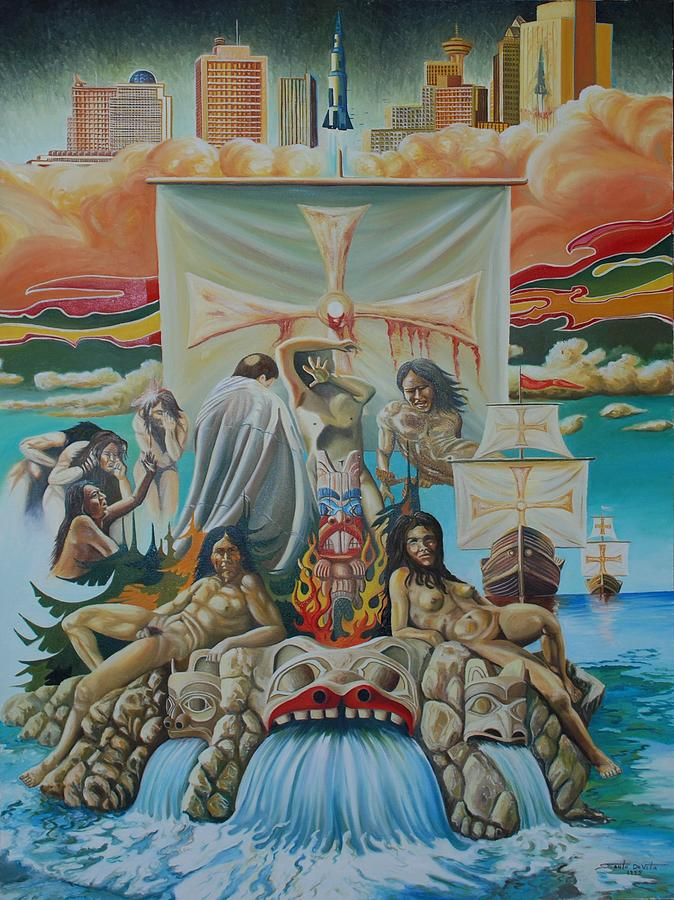 Surrealism Indian Canadian Art Spiritual Religious Painting - Agony Of A Nation by Santo De Vita