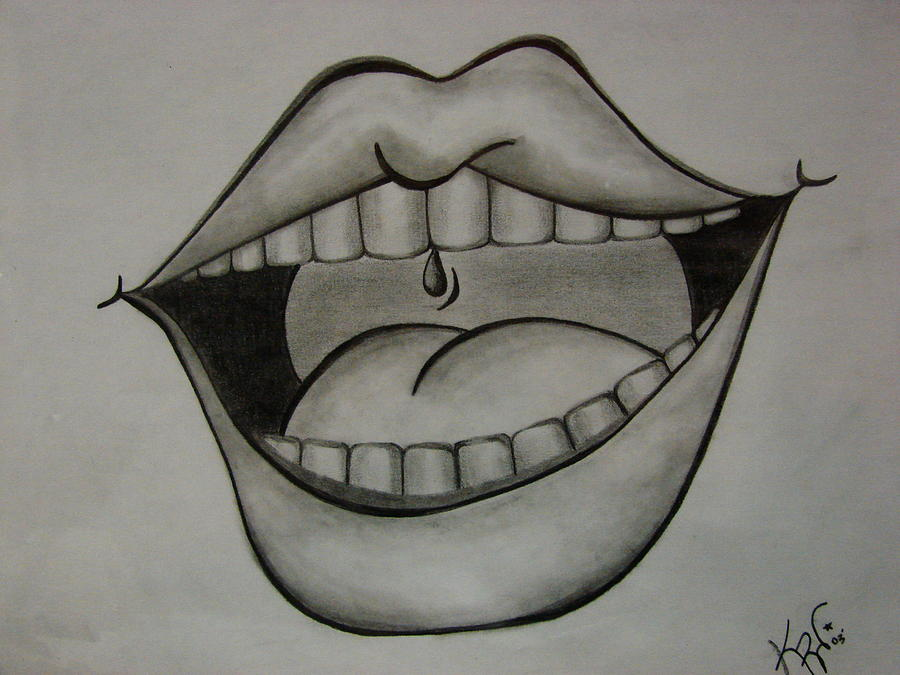 Mouth Drawing - Ahhh... by K Walker
